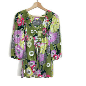 Leifsdottir Anthropologie Floral 100% Silk Blouse